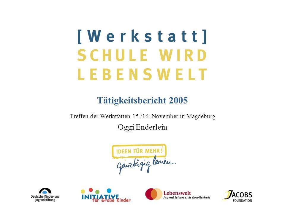Tätigkeitsbericht 2005 Treffen der Werkstätten 15./16. November in Magdeburg Oggi Enderlein