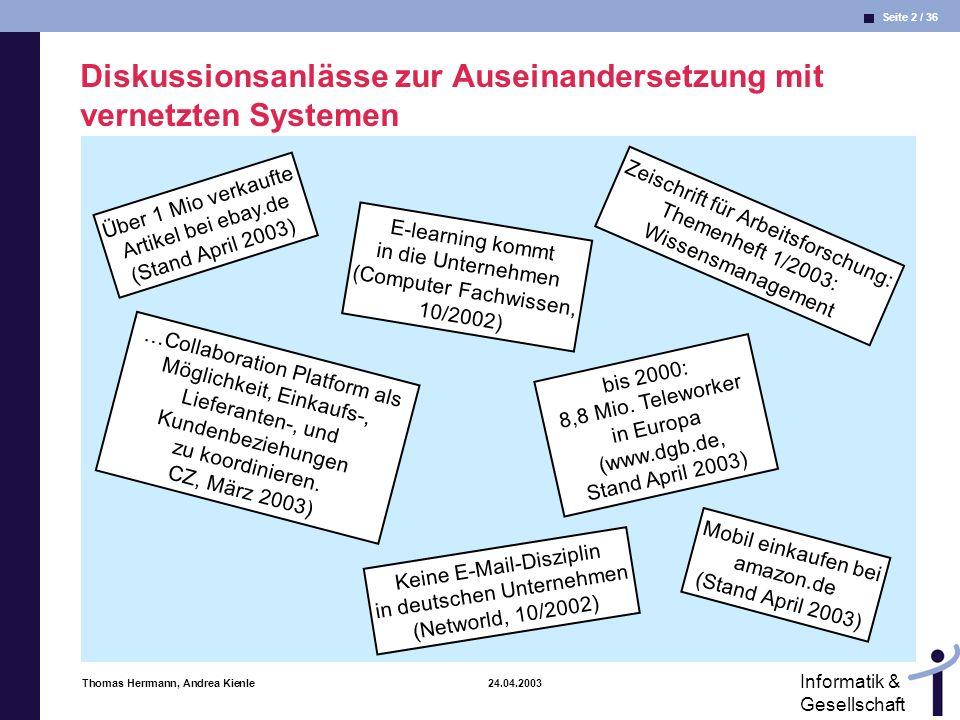 Seite 2 / 36 Informatik & Gesellschaft Thomas Herrmann, Andrea Kienle 24.04.2003 Diskussionsanlässe zur Auseinandersetzung mit vernetzten Systemen Über 1 Mio verkaufte Artikel bei ebay.de (Stand April 2003) …Collaboration Platform als Möglichkeit, Einkaufs-, Lieferanten-, und Kundenbeziehungen zu koordinieren.