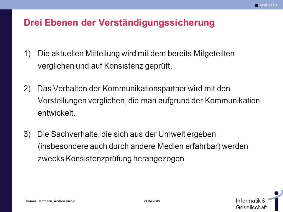 Seite 21 / 36 Informatik & Gesellschaft Thomas Herrmann, Andrea Kienle 24.04.2003 Drei Ebenen der Verständigungssicherung 1)Die aktuellen Mitteilung wird mit dem bereits Mitgeteilten verglichen und auf Konsistenz geprüft.