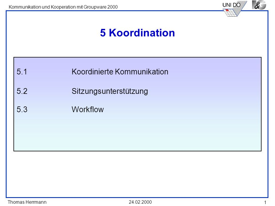 Thomas Herrmann Kommunikation und Kooperation mit Groupware 2000 24.02.2000 12 Feedbackregeln Jeder darf, - muss aber nicht - eine Rückmeldung geben Es ist eine klare Feedbackfrage zu stellen Man spricht über sich keine Kommentierung des Feedbacks anderer eine Äußerung pro Teilnehmer