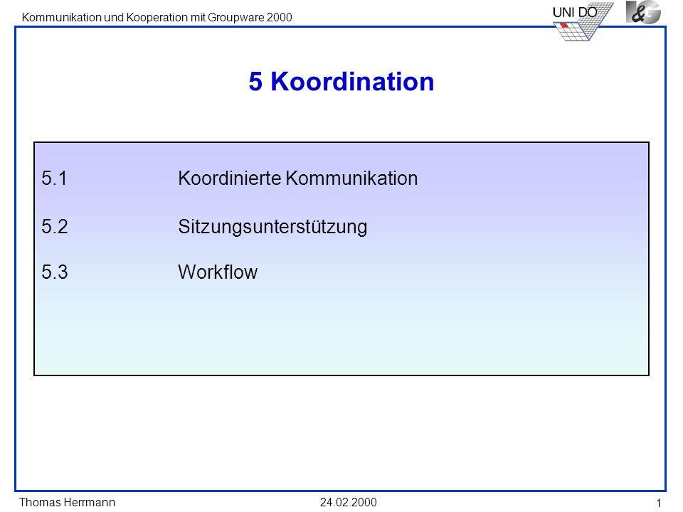 Thomas Herrmann Kommunikation und Kooperation mit Groupware 2000 24.02.2000 1 5 Koordination 5.1Koordinierte Kommunikation 5.2Sitzungsunterstützung 5.