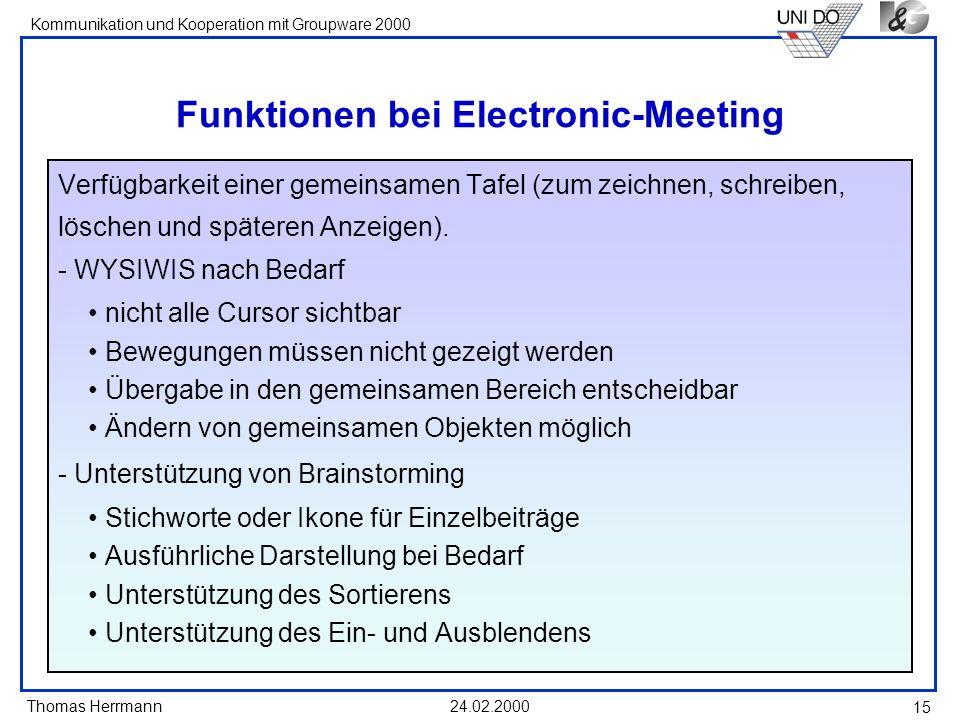 Thomas Herrmann Kommunikation und Kooperation mit Groupware 2000 24.02.2000 15 Funktionen bei Electronic-Meeting Verfügbarkeit einer gemeinsamen Tafel