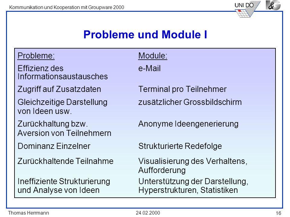 Thomas Herrmann Kommunikation und Kooperation mit Groupware 2000 24.02.2000 16 Probleme und Module I Probleme:Module: Effizienz des e-Mail Information