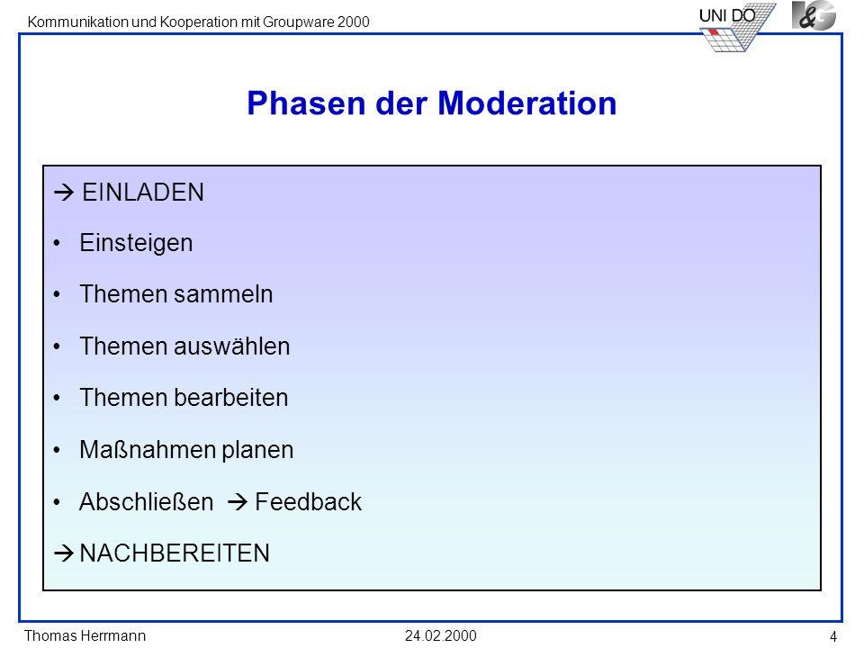 Thomas Herrmann Kommunikation und Kooperation mit Groupware 2000 24.02.2000 4 Phasen der Moderation EINLADEN Einsteigen Themen sammeln Themen auswähle