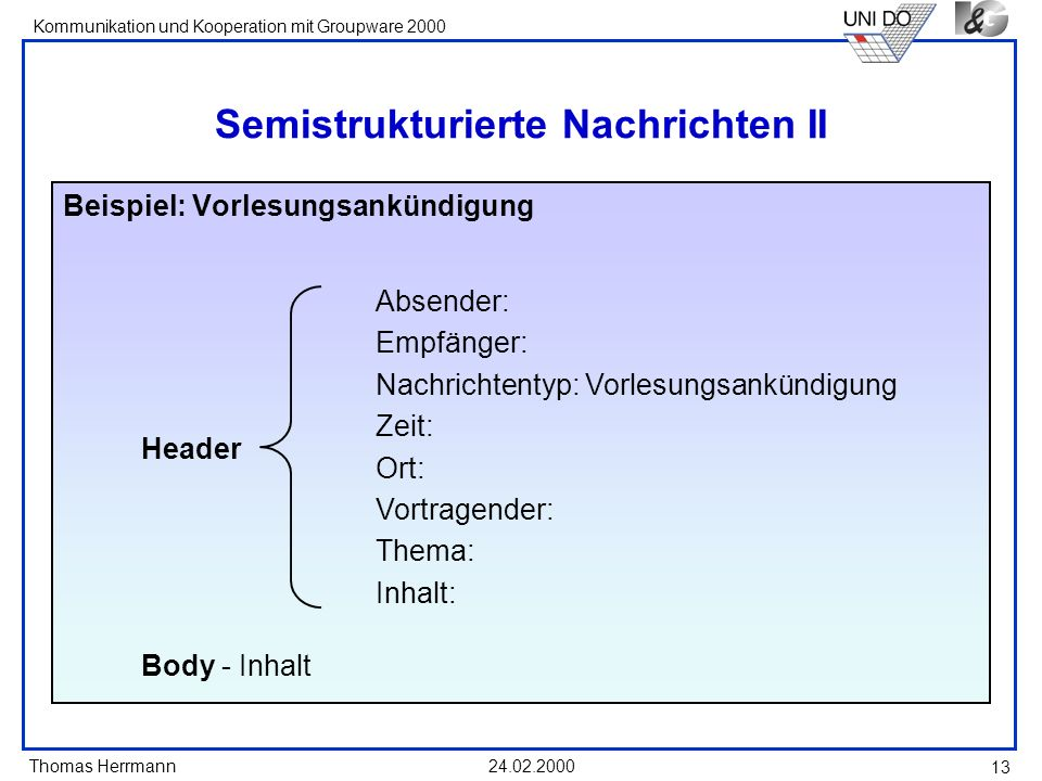 Thomas Herrmann Kommunikation und Kooperation mit Groupware 2000 24.02.2000 13 Semistrukturierte Nachrichten II Beispiel: Vorlesungsankündigung Absend