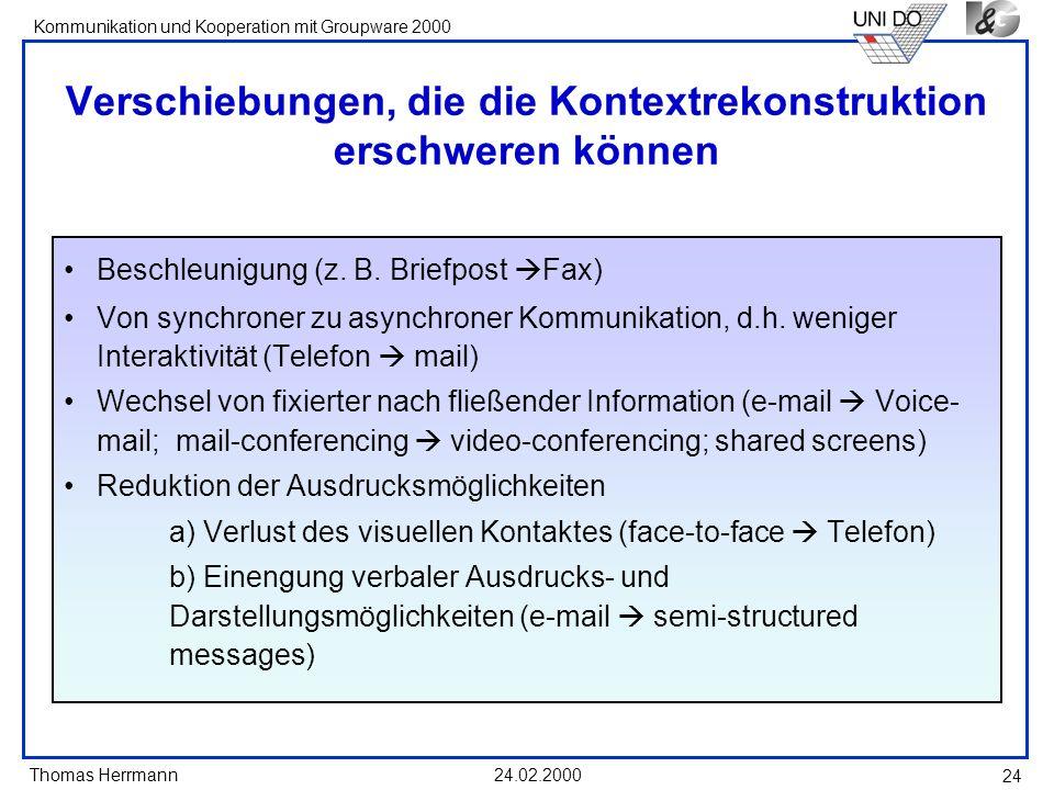 Thomas Herrmann Kommunikation und Kooperation mit Groupware 2000 24.02.2000 24 Verschiebungen, die die Kontextrekonstruktion erschweren können Beschle
