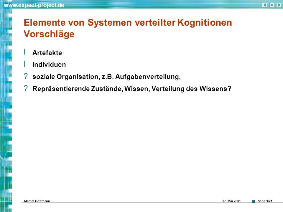 Seite 3/21 www.expect-project.de Marcel Hoffmann 17. Mai 2001 Elemente von Systemen verteilter Kognitionen Vorschläge ! Artefakte ! Individuen ? sozia