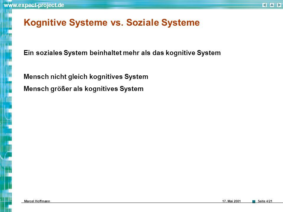 Seite 4/21 www.expect-project.de Marcel Hoffmann 17. Mai 2001 Kognitive Systeme vs. Soziale Systeme Ein soziales System beinhaltet mehr als das kognit