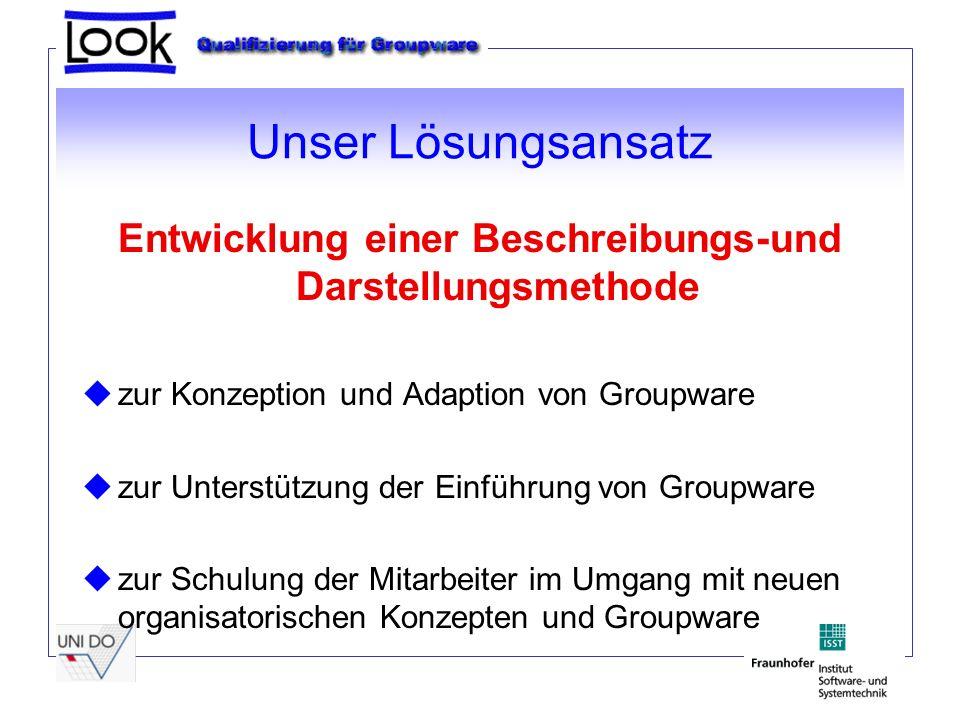 Unser Lösungsansatz Entwicklung einer Beschreibungs-und Darstellungsmethode zur Konzeption und Adaption von Groupware zur Unterstützung der Einführung von Groupware zur Schulung der Mitarbeiter im Umgang mit neuen organisatorischen Konzepten und Groupware