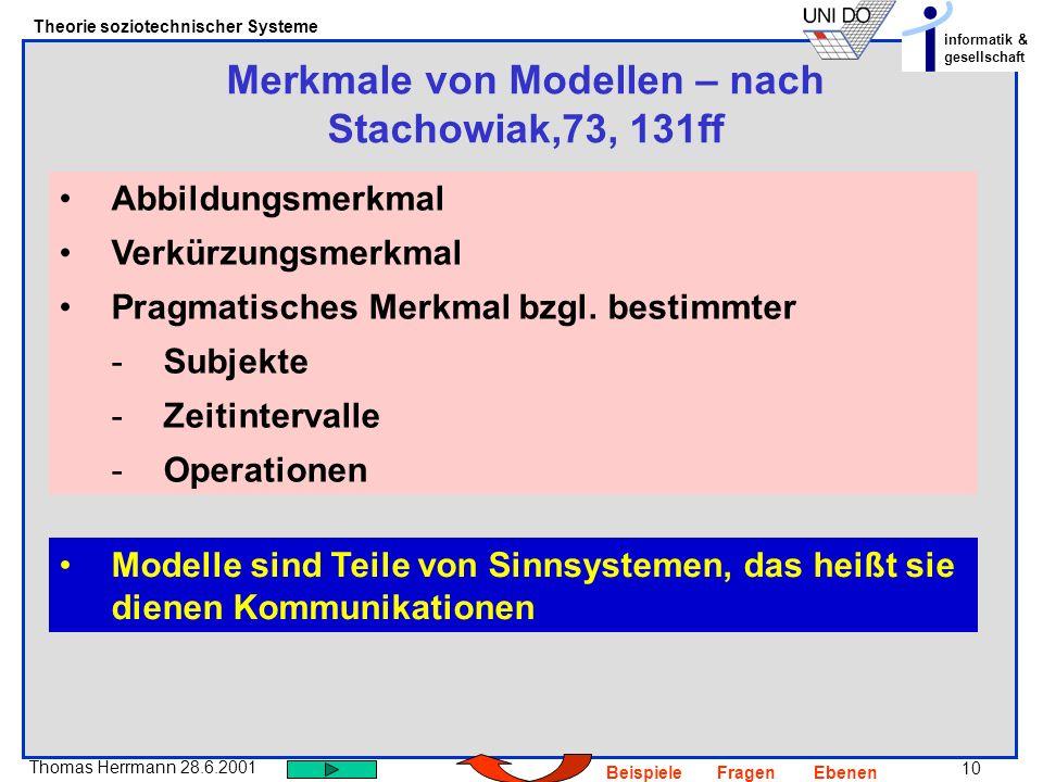 10 Thomas Herrmann 28.6.2001 Theorie soziotechnischer Systeme informatik & gesellschaft BeispieleFragenEbenen Merkmale von Modellen – nach Stachowiak,