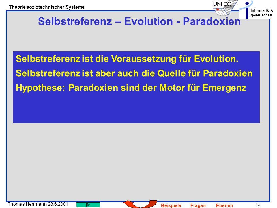13 Thomas Herrmann 28.6.2001 Theorie soziotechnischer Systeme informatik & gesellschaft BeispieleFragenEbenen Selbstreferenz – Evolution - Paradoxien