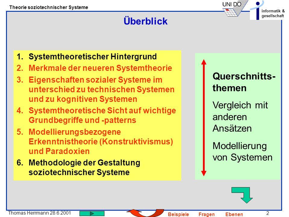 3 Thomas Herrmann 28.6.2001 Theorie soziotechnischer Systeme informatik & gesellschaft BeispieleFragenEbenen Selbst-Konstitution = Anschlussfähigkeit Eine Kommunikation ermöglicht die nächste UND jede Kommunikation lässt sich als eine durch andere Kommunikationen ermöglichte verstehen