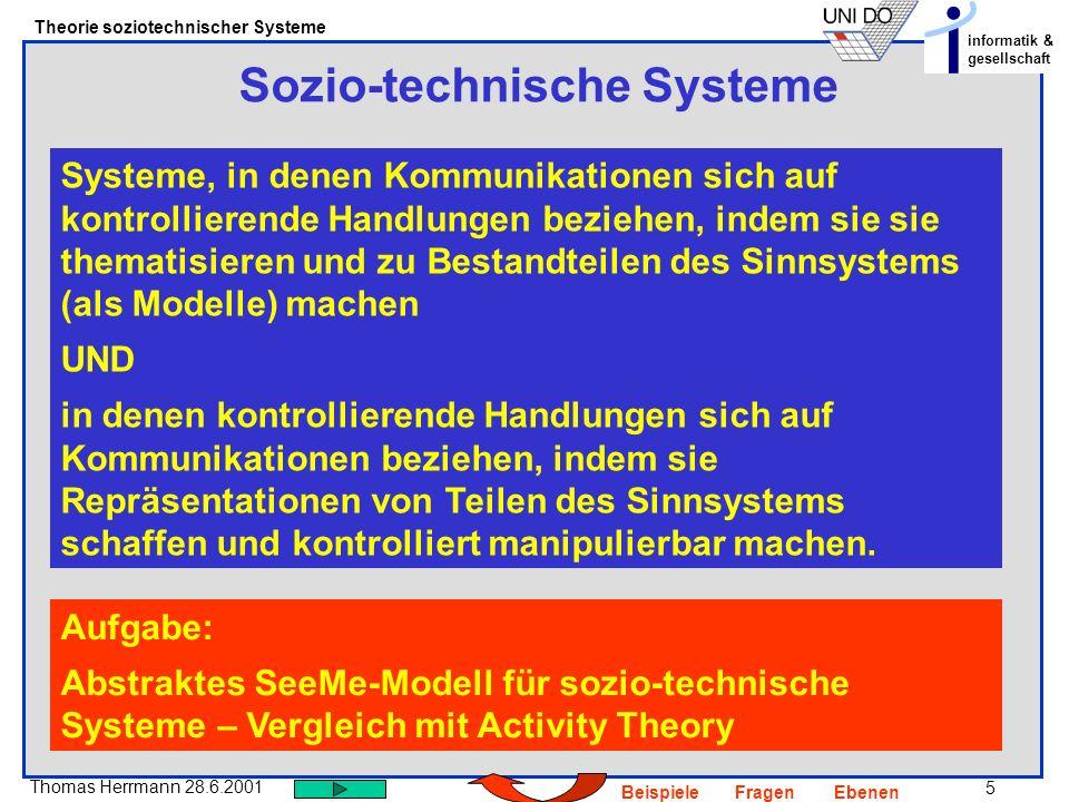 6 Thomas Herrmann 28.6.2001 Theorie soziotechnischer Systeme informatik & gesellschaft BeispieleFragenEbenen Evolution und Adaption Veränderungen eines Systems, die eine Veränderung des beschreibenden Modells erfordern Prozesse der Emergenz Veränderungen eines Systems, die eine Veränderung des Meta-Modells des beschreibenden Modells erfordern