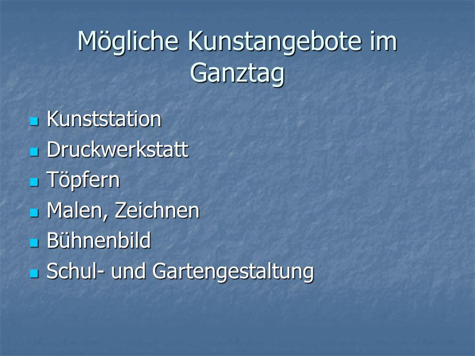 Mögliche Kunstangebote im Ganztag Kunststation Kunststation Druckwerkstatt Druckwerkstatt Töpfern Töpfern Malen, Zeichnen Malen, Zeichnen Bühnenbild B