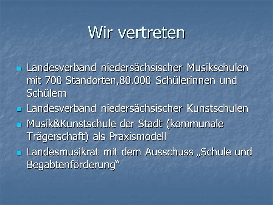 Wir vertreten Landesverband niedersächsischer Musikschulen mit 700 Standorten,80.000 Schülerinnen und Schülern Landesverband niedersächsischer Musiksc