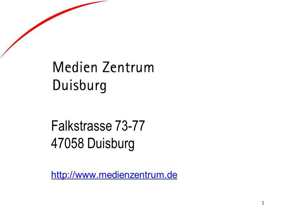 1 Falkstrasse 73-77 47058 Duisburg http://www.medienzentrum.de