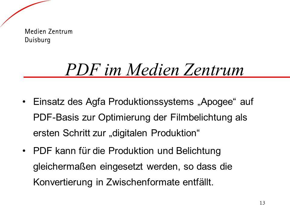 13 PDF im Medien Zentrum Einsatz des Agfa Produktionssystems Apogee auf PDF-Basis zur Optimierung der Filmbelichtung als ersten Schritt zur digitalen