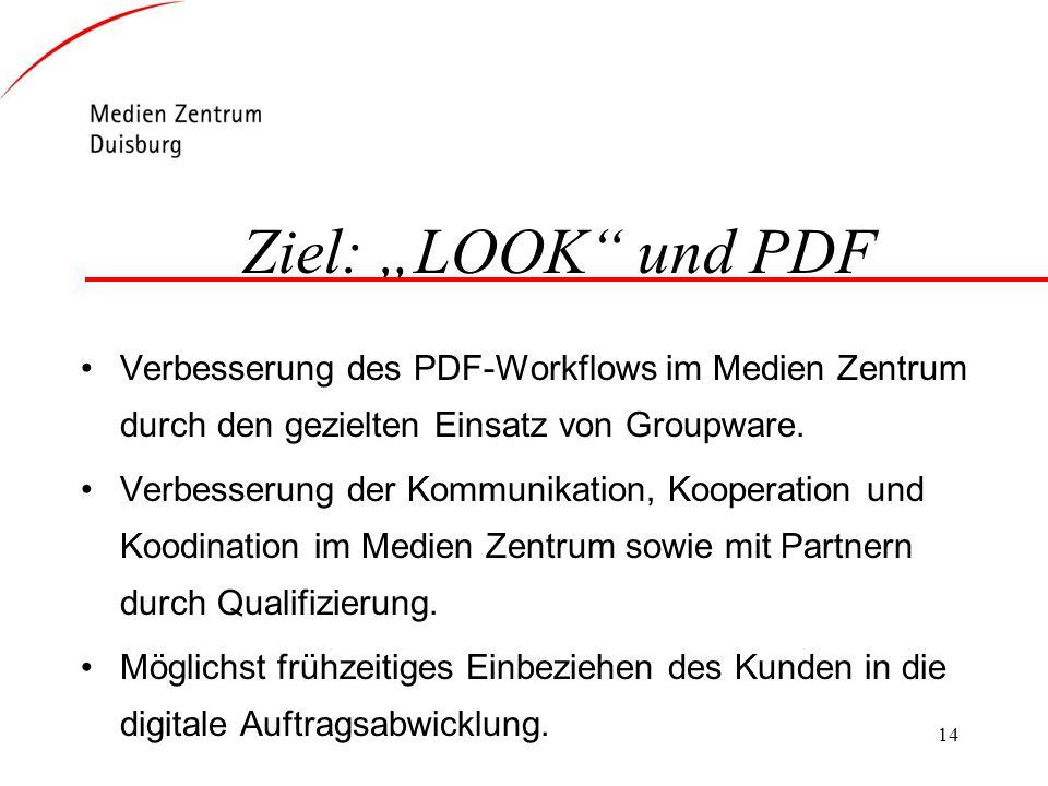 14 Ziel: LOOK und PDF Verbesserung des PDF-Workflows im Medien Zentrum durch den gezielten Einsatz von Groupware. Verbesserung der Kommunikation, Koop