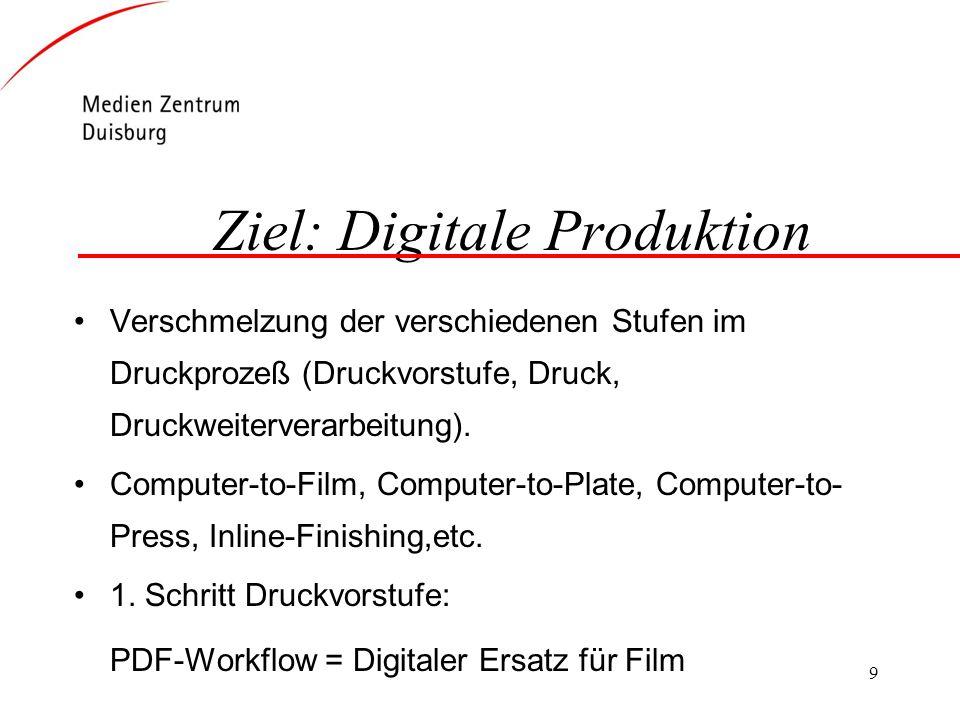 9 Ziel: Digitale Produktion Verschmelzung der verschiedenen Stufen im Druckprozeß (Druckvorstufe, Druck, Druckweiterverarbeitung). Computer-to-Film, C