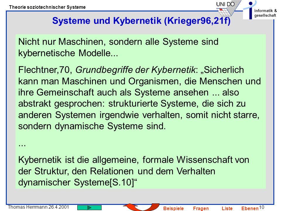 10 Thomas Herrmann 26.4.2001 Theorie soziotechnischer Systeme informatik & gesellschaft BeispieleFragenListeEbenen Nicht nur Maschinen, sondern alle S