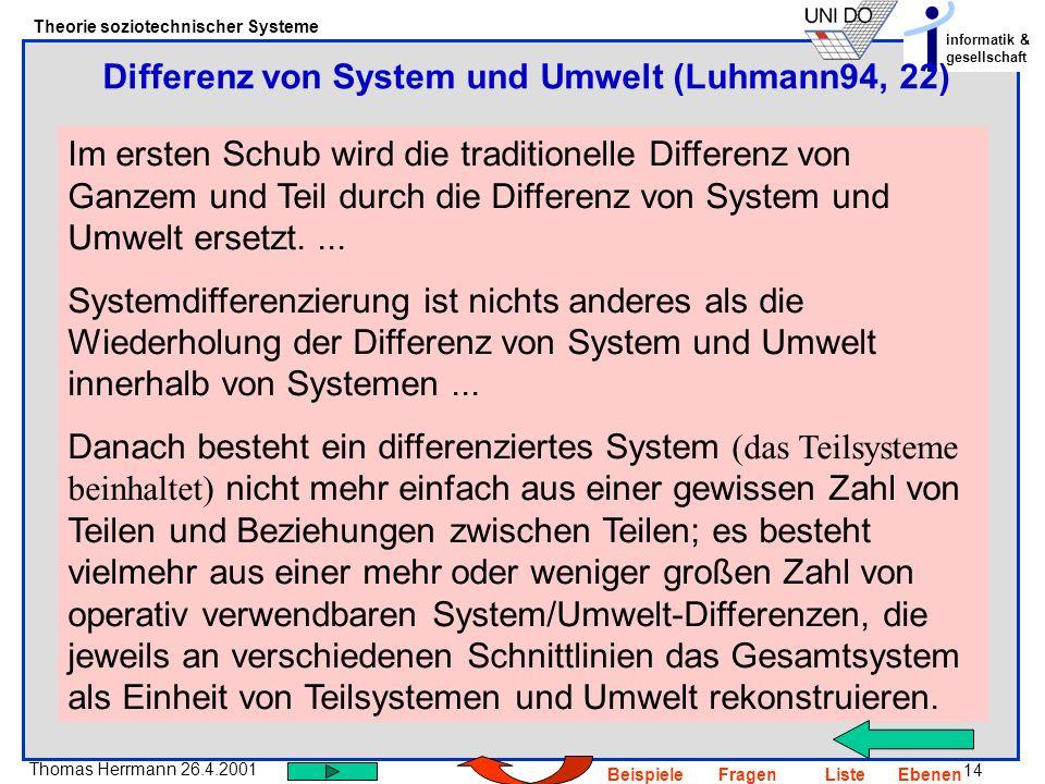 14 Thomas Herrmann 26.4.2001 Theorie soziotechnischer Systeme informatik & gesellschaft BeispieleFragenListeEbenen Im ersten Schub wird die traditione