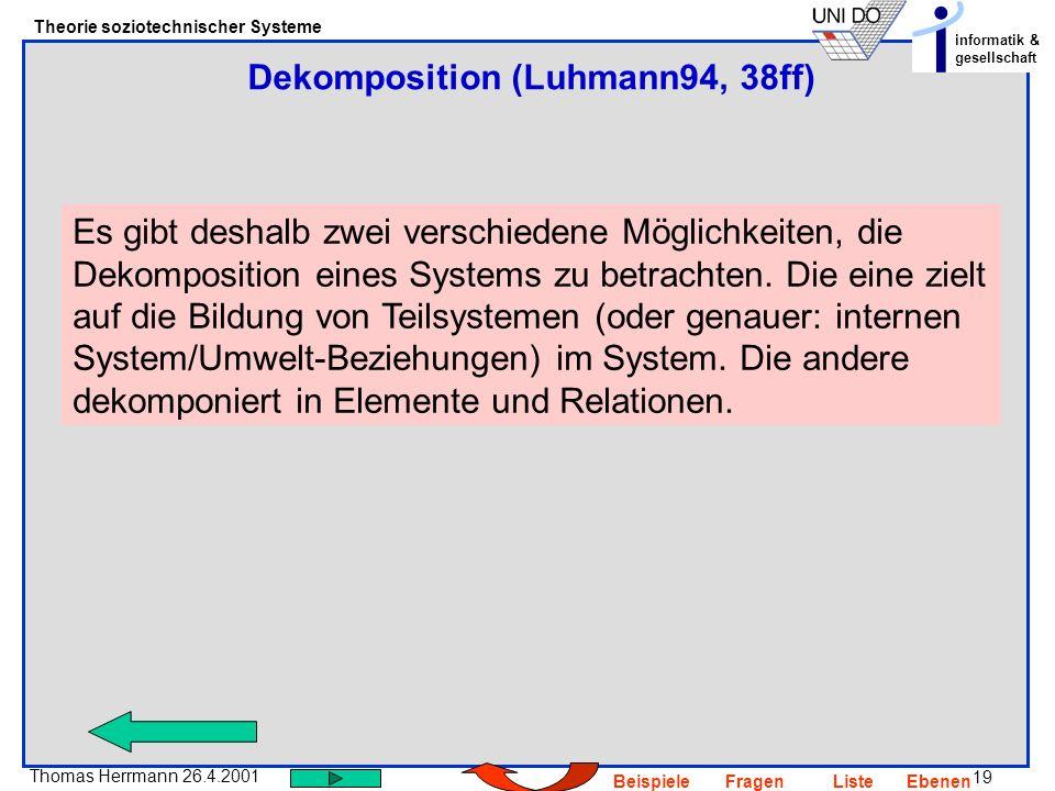 19 Thomas Herrmann 26.4.2001 Theorie soziotechnischer Systeme informatik & gesellschaft BeispieleFragenListeEbenen Es gibt deshalb zwei verschiedene M