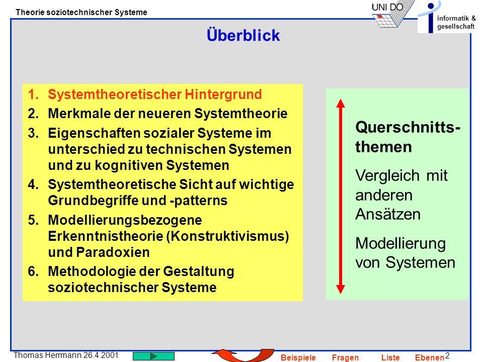 2 Thomas Herrmann 26.4.2001 Theorie soziotechnischer Systeme informatik & gesellschaft BeispieleFragenListeEbenen Überblick 1.Systemtheoretischer Hint