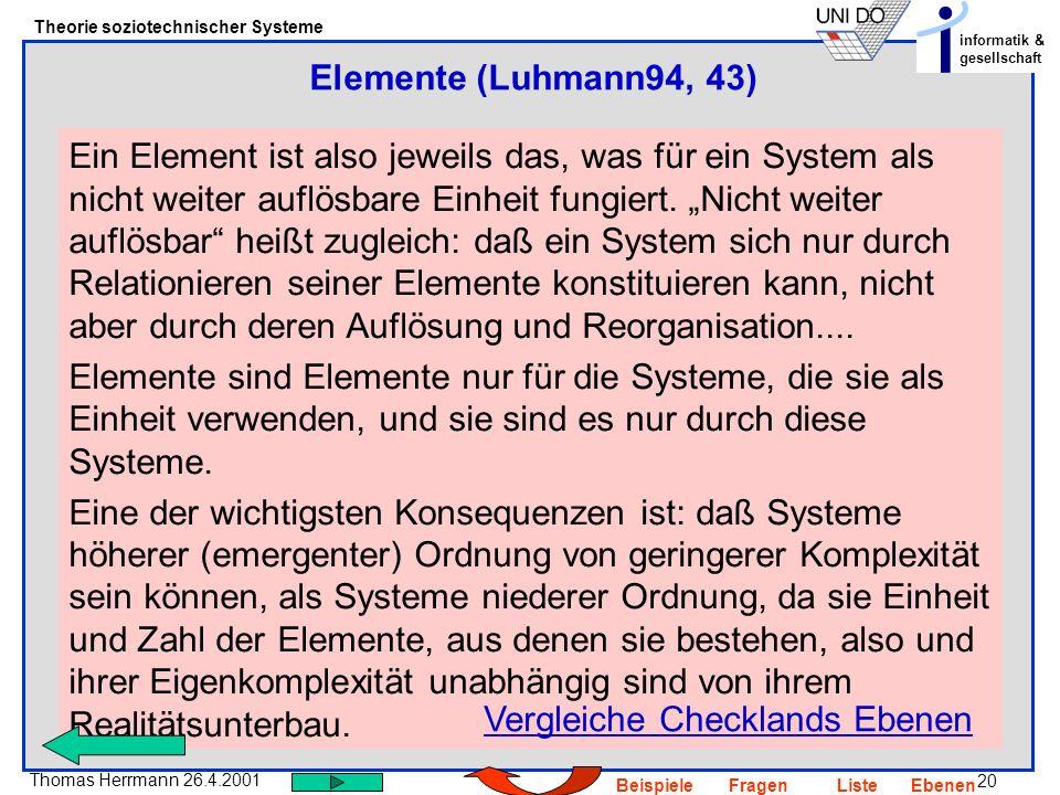 20 Thomas Herrmann 26.4.2001 Theorie soziotechnischer Systeme informatik & gesellschaft BeispieleFragenListeEbenen Ein Element ist also jeweils das, w
