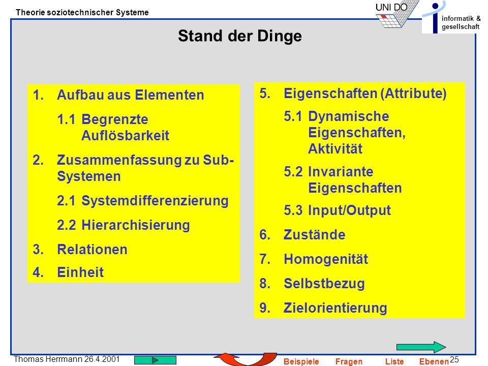 25 Thomas Herrmann 26.4.2001 Theorie soziotechnischer Systeme informatik & gesellschaft BeispieleFragenListeEbenen Stand der Dinge 5.Eigenschaften (At