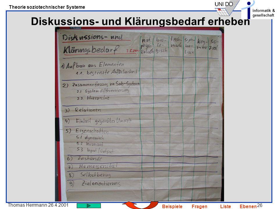 26 Thomas Herrmann 26.4.2001 Theorie soziotechnischer Systeme informatik & gesellschaft BeispieleFragenListeEbenen Diskussions- und Klärungsbedarf erh