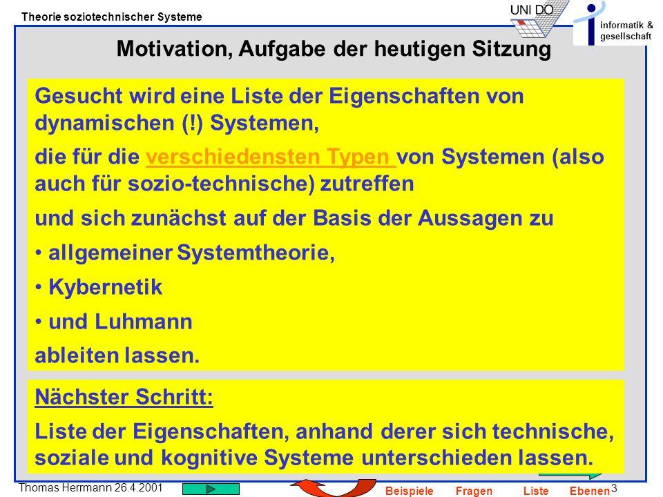3 Thomas Herrmann 26.4.2001 Theorie soziotechnischer Systeme informatik & gesellschaft BeispieleFragenListeEbenen Motivation, Aufgabe der heutigen Sit