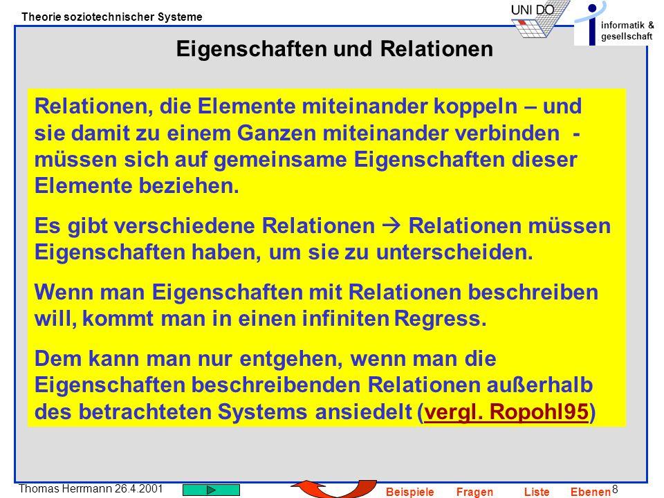 8 Thomas Herrmann 26.4.2001 Theorie soziotechnischer Systeme informatik & gesellschaft BeispieleFragenListeEbenen Eigenschaften und Relationen Relatio