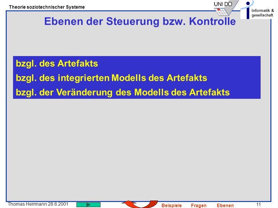 11 Thomas Herrmann 28.6.2001 Theorie soziotechnischer Systeme informatik & gesellschaft BeispieleFragenEbenen Ebenen der Steuerung bzw. Kontrolle bzgl