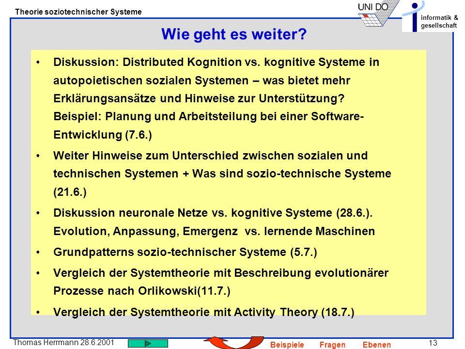 13 Thomas Herrmann 28.6.2001 Theorie soziotechnischer Systeme informatik & gesellschaft BeispieleFragenEbenen Diskussion: Distributed Kognition vs. ko