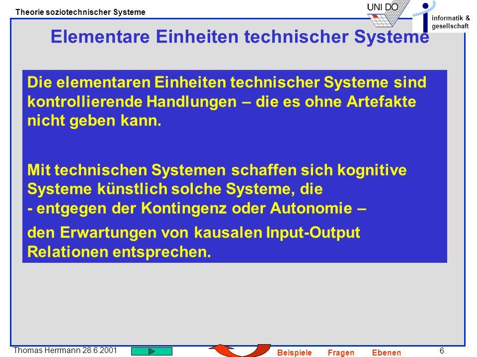 6 Thomas Herrmann 28.6.2001 Theorie soziotechnischer Systeme informatik & gesellschaft BeispieleFragenEbenen Elementare Einheiten technischer Systeme