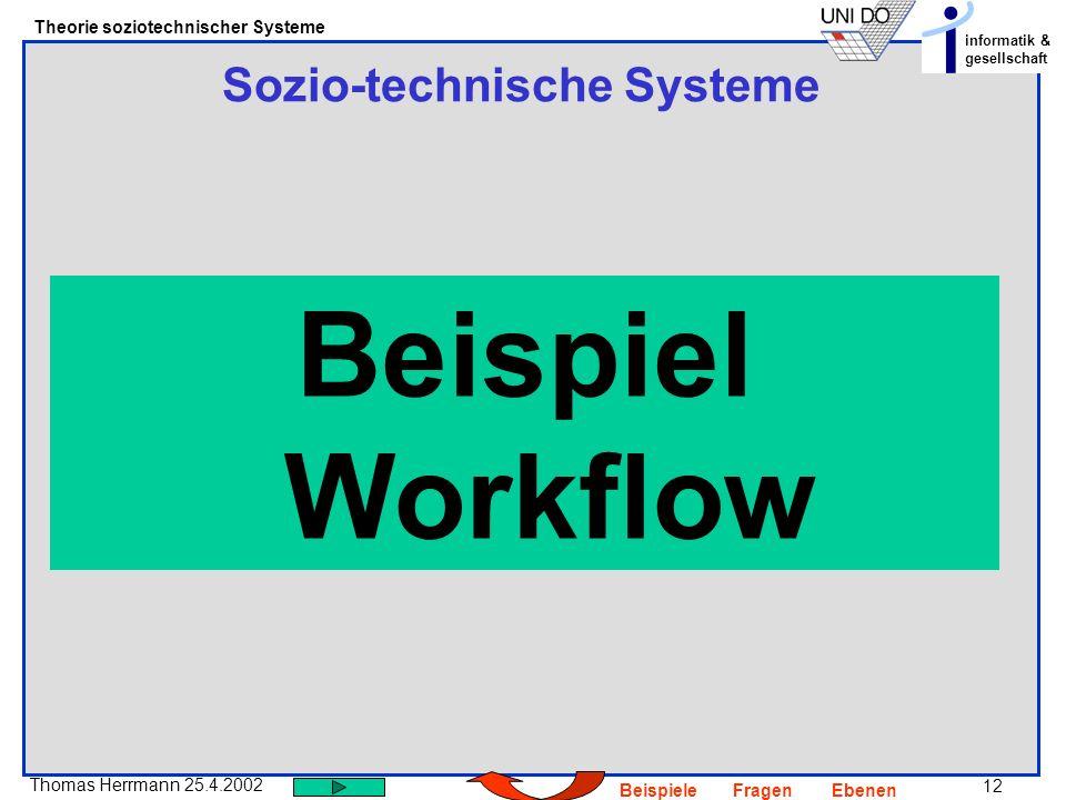 12 Thomas Herrmann 25.4.2002 Theorie soziotechnischer Systeme informatik & gesellschaft BeispieleFragenEbenen Sozio-technische Systeme Beispiel Workfl