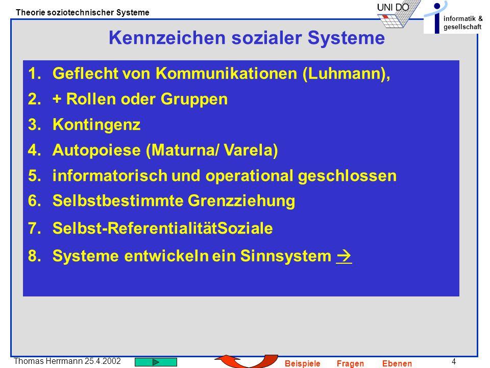 4 Thomas Herrmann 25.4.2002 Theorie soziotechnischer Systeme informatik & gesellschaft BeispieleFragenEbenen Kennzeichen sozialer Systeme 1.Geflecht v