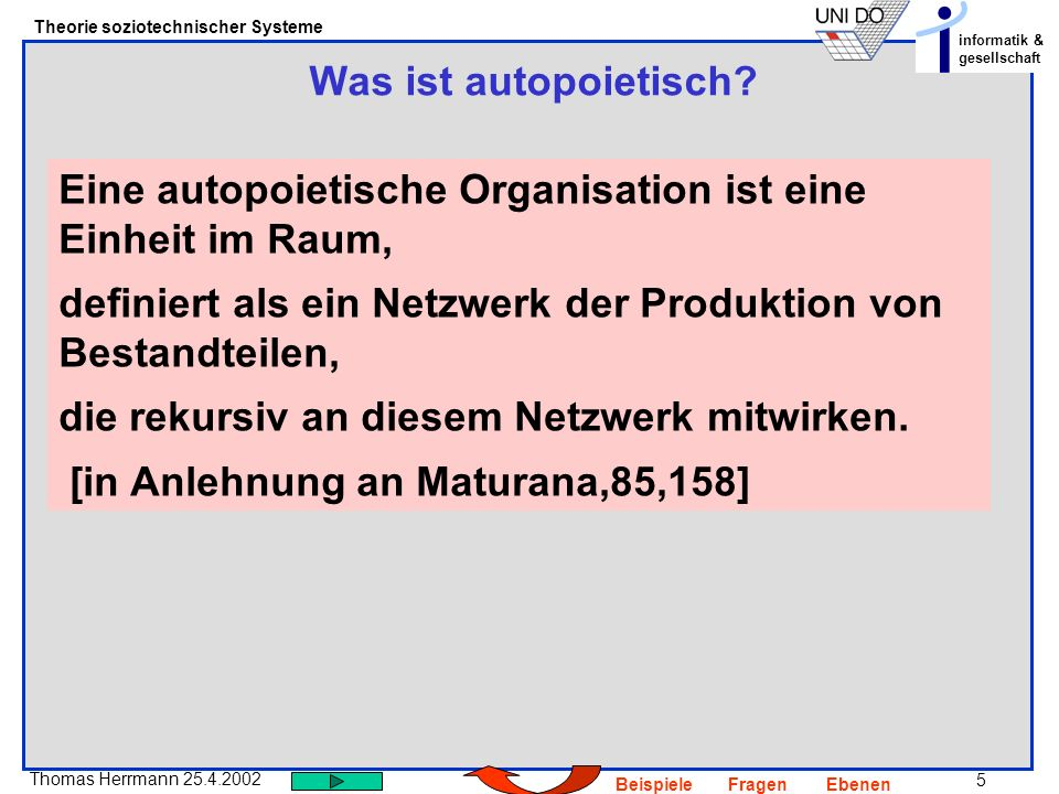 5 Thomas Herrmann 25.4.2002 Theorie soziotechnischer Systeme informatik & gesellschaft BeispieleFragenEbenen Was ist autopoietisch.