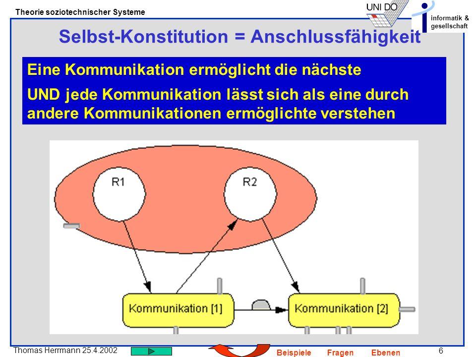 6 Thomas Herrmann 25.4.2002 Theorie soziotechnischer Systeme informatik & gesellschaft BeispieleFragenEbenen Selbst-Konstitution = Anschlussfähigkeit Eine Kommunikation ermöglicht die nächste UND jede Kommunikation lässt sich als eine durch andere Kommunikationen ermöglichte verstehen