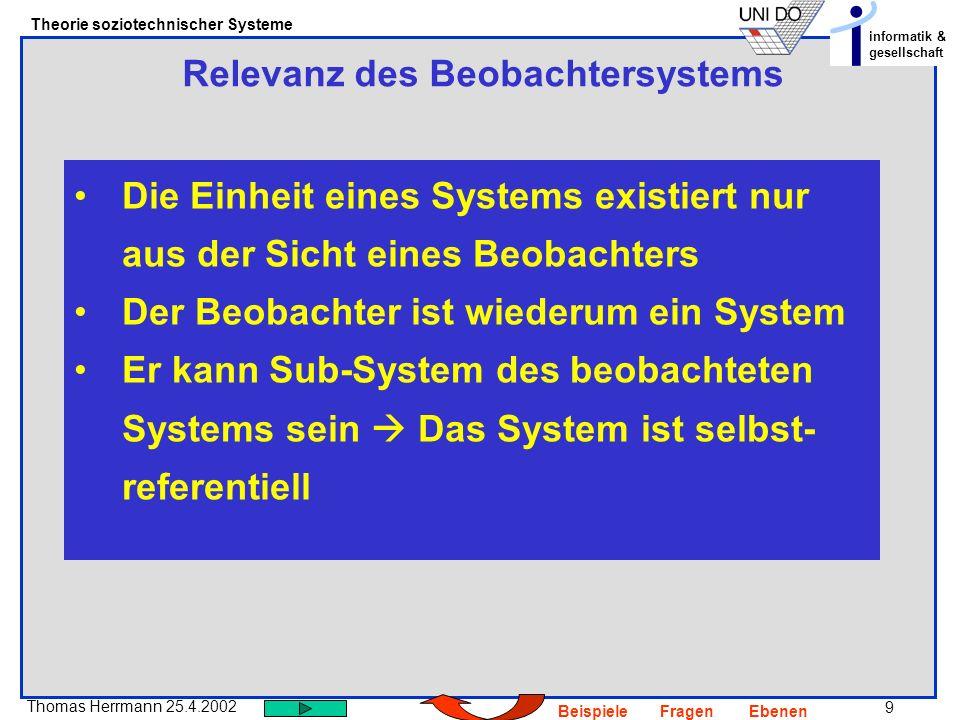 9 Thomas Herrmann 25.4.2002 Theorie soziotechnischer Systeme informatik & gesellschaft BeispieleFragenEbenen Relevanz des Beobachtersystems Die Einheit eines Systems existiert nur aus der Sicht eines Beobachters Der Beobachter ist wiederum ein System Er kann Sub-System des beobachteten Systems sein Das System ist selbst- referentiell