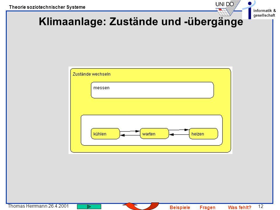 12 Thomas Herrmann 26.4.2001 Theorie soziotechnischer Systeme informatik & gesellschaft BeispieleFragenWas fehlt? Klimaanlage: Zustände und -übergänge