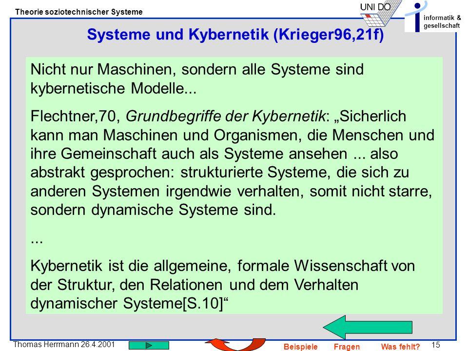 15 Thomas Herrmann 26.4.2001 Theorie soziotechnischer Systeme informatik & gesellschaft BeispieleFragenWas fehlt? Nicht nur Maschinen, sondern alle Sy