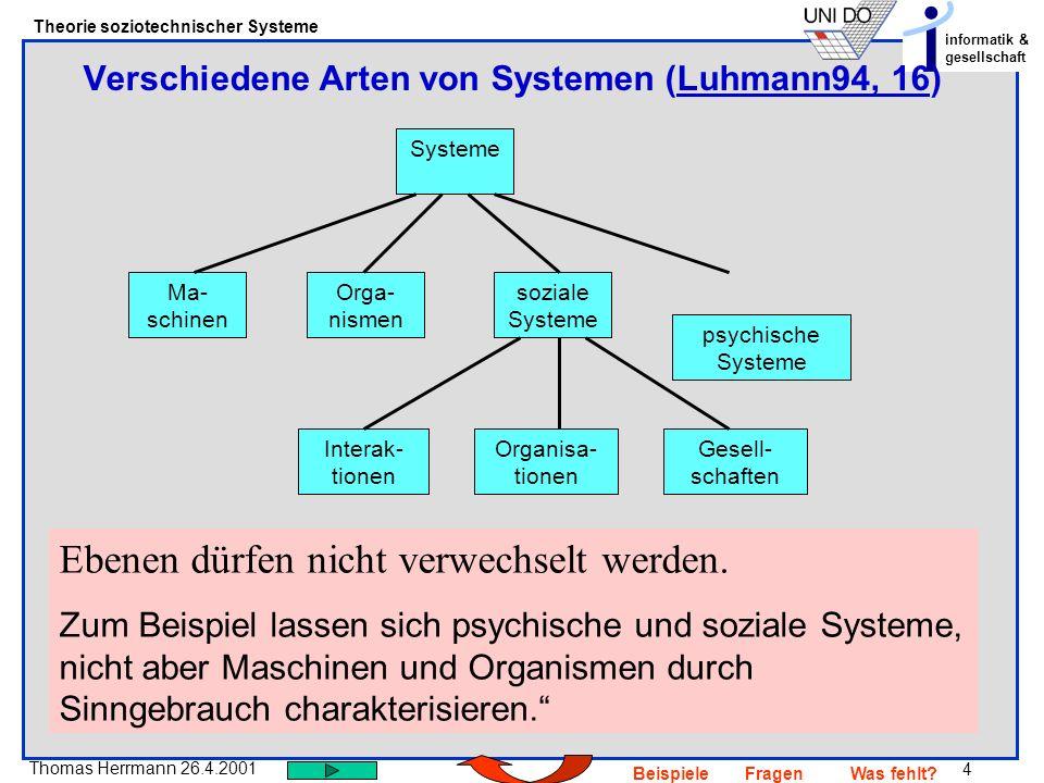 4 Thomas Herrmann 26.4.2001 Theorie soziotechnischer Systeme informatik & gesellschaft BeispieleFragenWas fehlt? Verschiedene Arten von Systemen (Luhm