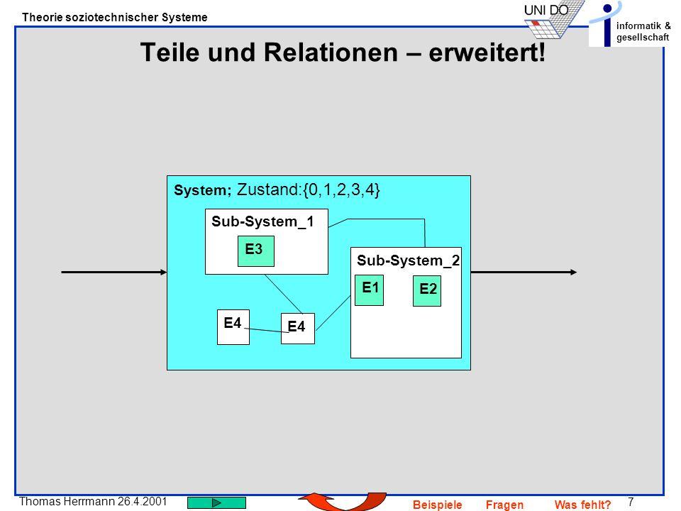 7 Thomas Herrmann 26.4.2001 Theorie soziotechnischer Systeme informatik & gesellschaft BeispieleFragenWas fehlt? Teile und Relationen – erweitert! Sys