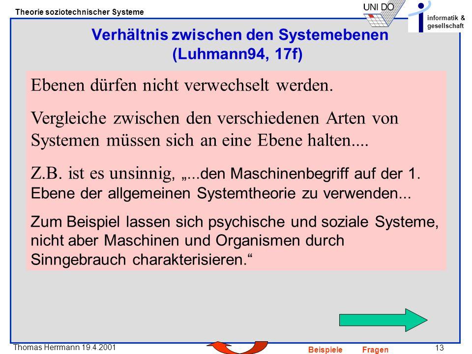 13 Thomas Herrmann 19.4.2001 Theorie soziotechnischer Systeme informatik & gesellschaft BeispieleFragen Ebenen dürfen nicht verwechselt werden.
