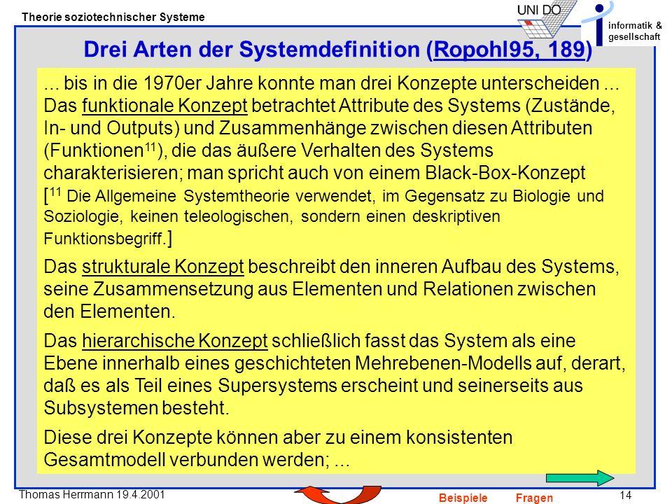 14 Thomas Herrmann 19.4.2001 Theorie soziotechnischer Systeme informatik & gesellschaft BeispieleFragen Drei Arten der Systemdefinition (Ropohl95, 189)Ropohl95, 189...
