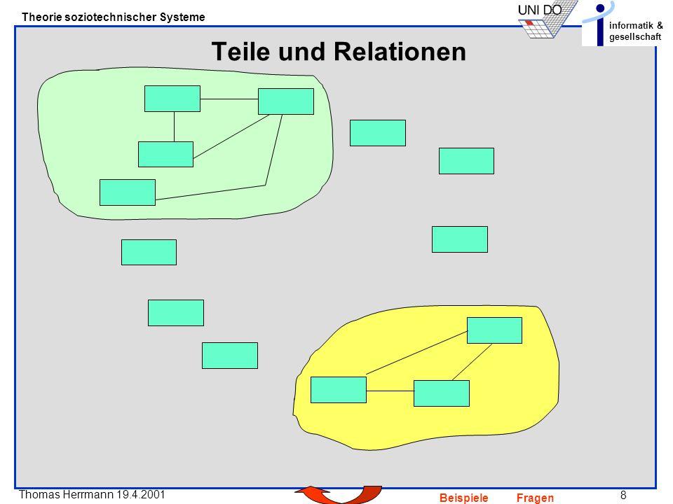 8 Thomas Herrmann 19.4.2001 Theorie soziotechnischer Systeme informatik & gesellschaft BeispieleFragen Teile und Relationen
