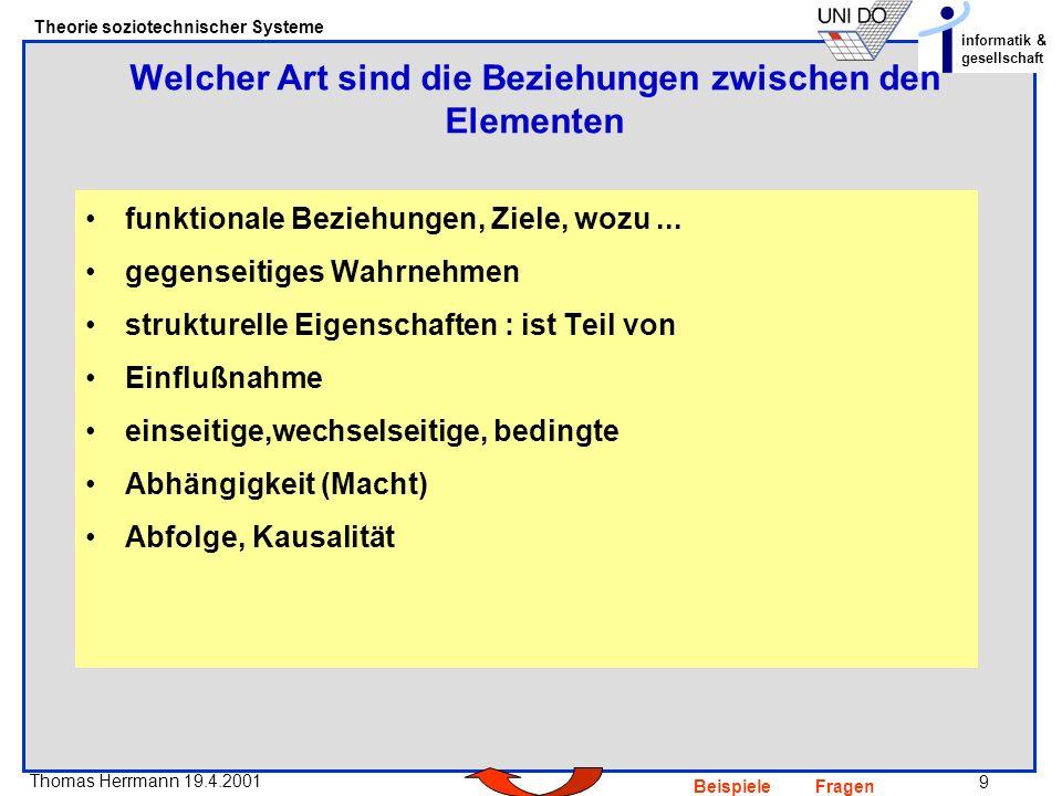 9 Thomas Herrmann 19.4.2001 Theorie soziotechnischer Systeme informatik & gesellschaft BeispieleFragen funktionale Beziehungen, Ziele, wozu...