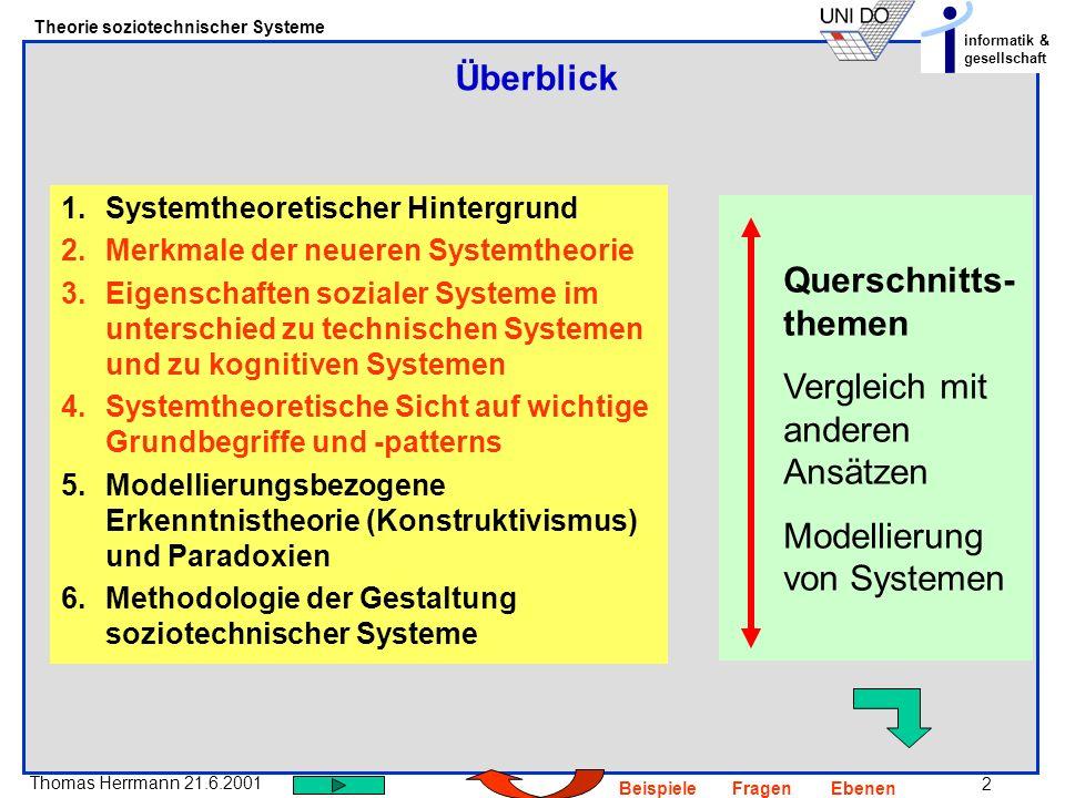 33 Thomas Herrmann 21.6.2001 Theorie soziotechnischer Systeme informatik & gesellschaft BeispieleFragenEbenen Auf welcher Ebene sind die funktionalen Aspekte anzusiedeln.