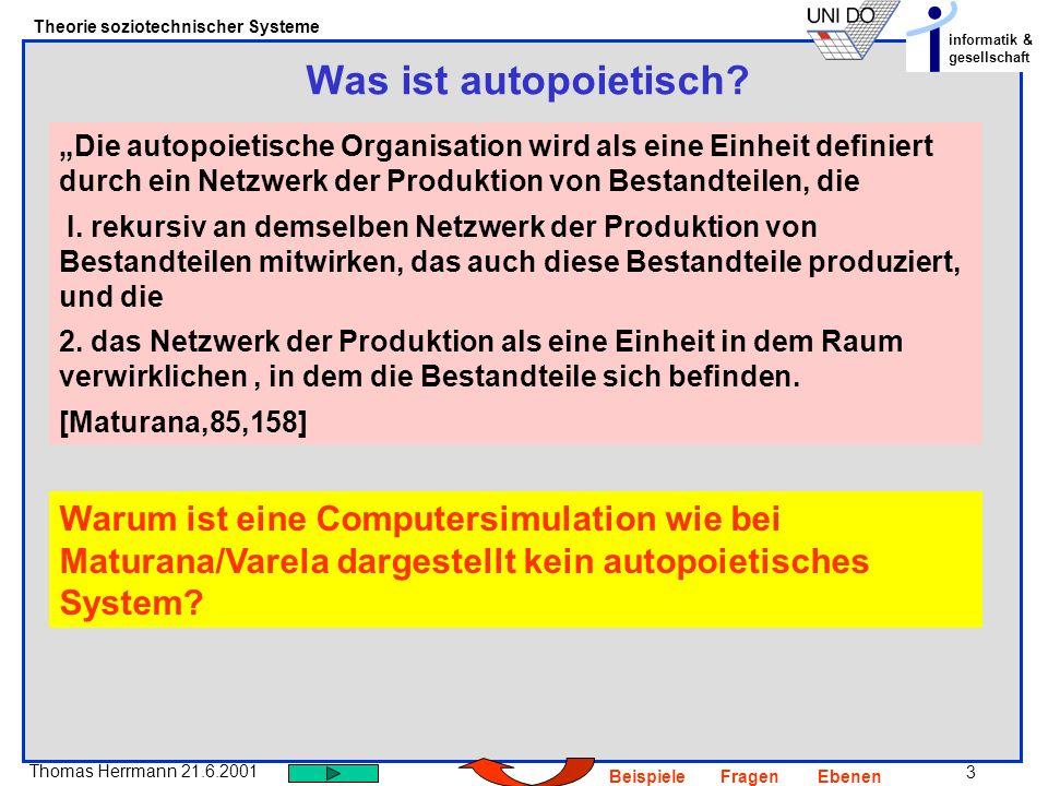 34 Thomas Herrmann 21.6.2001 Theorie soziotechnischer Systeme informatik & gesellschaft BeispieleFragenEbenen Wie kann man die Bildung von Systemen verstehen – werden sie von einem Beobachter als solche konstruiert oder verstehen sie sich auch selbst als System.